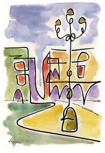 Llop - Reus plaça Mercadal - litografia 30x21 edició limitada