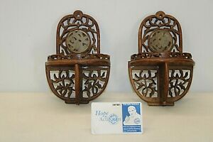 """Vintage Intricately Hand Carved Mini Wood Wall Shelves 4 1/2"""" W x 7"""" L"""
