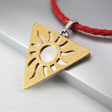 Silver Gold Triquetra Pendant Red Braided Leather Cord Egyptian Necklace Jewelry