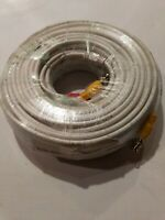 100FT HD Premade CCTV Cable RG59  Security Camera BNC Power Video White