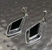 Vintage 925 Sterling Silver Earrings Black Stones Marcasite Dangle Drop