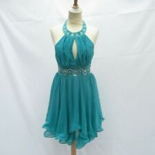 Lipsy Wire Hem Halter Dress, Green + Sequin Embroidered, Polyester - UK8 RRP £75