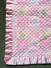 Vintage Baby Green Block Quilt Lovey Pink Satin Trim Blanket 27x27