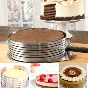 Stainless Steel Layer Cake Slicer Kit Mousse Slicing Setting Ring Round UK Sell