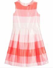 Girls Lili Gaufrette stunning designer pink striped satin summer dress Age 12
