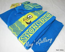 Spongebob Nick SQUAREPANTS Cap Hat Beanie Beanies Gloves Scarf 3pc Set  NWT