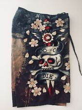"ED HARDY  ""DO OR DIE"" BOARD SHORTS SIZE 32"