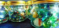 Vintage Marbles In Glass Jar Akro Agate Peltier Jabo Cat Eye Swirls Mica Slags +