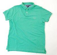 Tommy Hilfiger Poloshirt Polohemd Herren Gr.M grün uni Piquè -S1093