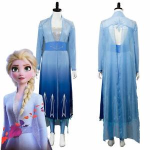 Princess Elsa Cosplay Costume Gown Blue Dress Fancy Party Suit Blue Dress