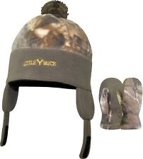 Little Buck Realtree Camo Camouflage Boys Toddler Hat & Mittens Set