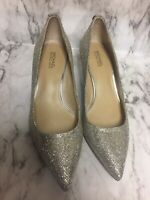 Michael Kors Size 5.5 M Sparkly Silver Pointed Toe Kitten Heel Pumps