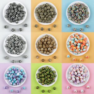 12mm Loose Round Leopard Silicone Beads DIY Baby Teething Chew Jewelry Necklace