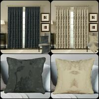 New Heavy Jacquard Curtains Pencil Pleat Blackout Curtains & matching Tiebacks