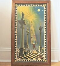 SUPERB ANTIQUE MASONIC PICTURE TRACING BOARD 20 x 34 INCHES 1ST DEGREE
