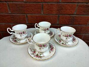 ROYAL ALBERT LAVENDER ROSE TEA CUPS & SAUCERS X4
