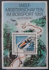 BRD Briefmarken 1991 Block 23 Weltmeisterschaft im Bobsport Gummiert EST