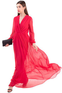 RRP €820 MAX MARA Silk A-Line Gown Size 42 / M Gathered V Neck Made in Italy