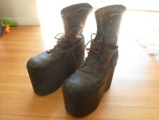 Vintage US Army Leather Combat Boots Punk Metal Goth Monster KISS 10 R Black