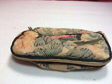 Vintage Flowers Print Folding Cosmetics Bag Double Zipper Black Tassels
