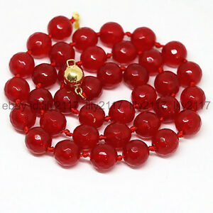 Genuine natural 10mm faceted red jade gemstone round beads necklace 18Inch