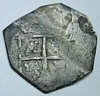 """1686-1699 """"Maria Type"""" Spanish Silver 1 Reales Antique 1600's Pirate Cob Coin"""