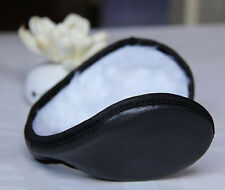 Unisex mens Black Fleece Earmuff Winter Ear Muff Wrap Band Warmer Grip Earlap