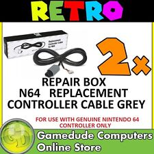 2x Repair Box N64 Replacement Controller Cable GREY - MODEL : M07177-GR [F03]