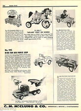 1957 ADVERT Structo Ride Em Toy Air Force Jeep Sit N Ride Tow Truck Pedal Car