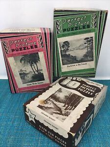 Lot of 3 vintage puzzles, 1930's era  Big 10, Perfect Picture 1410/1010