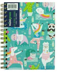 Yoga Animals 6 X 8 Spiral Journal Notebook 200 Pages Purrmaid Llama Unicorn New
