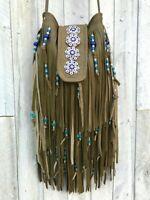 Green Leather Boho Southwest Festival Hobo Handmade Usa Fringe Crossbody Bag