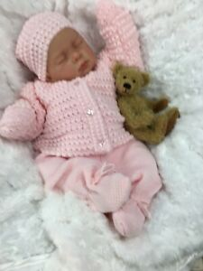 REBORN GIRL DOLL PINK KNITTED SPANISH OUTFIT &  DUMMY L