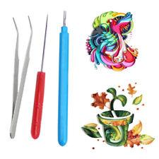 3pcs Paper DIY Set Quilling Paper Tweezer Needle Pins Slotted Pen Tools Kit