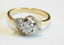 18ct Gold 3-Stone Diamond Twist Ring 0.75cts Size J 1/2 Diamond Set Shoulders