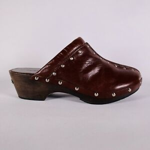 Michael Kors Brown Leather Clogs Studded Women's Size 6.5 M
