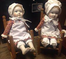 "Sweet Vintage Bisque Porcelain Doll Cloth Body Bonnet Apron 18"" Marked 1977"