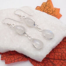 Mondstein blau weiß Tropfen Design Ohrringe Ohrhänger 925 Sterling Silber neu