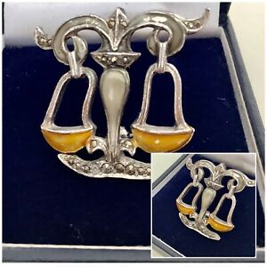 Vintage Jewellery BJL Silver Enamel & Marcasite Grecian Water Style Brooch Pin