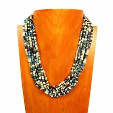 "16"" Multi Strand Blue Multi Color Handmade Seed Bead Statement Necklace"