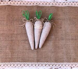 Farmhouse easter decor Set of 3 fabric carrot for Easter Spring carrot bundles