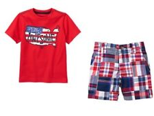 Gymboree Red White & Cute Tee Shirt Top Patchwork Shorts Set Boys 3T 4T NEW NWT