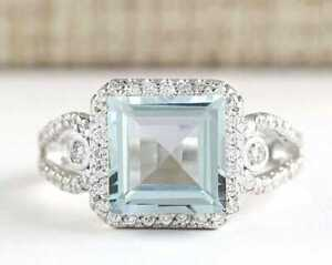 Clear Sea Blue Princess Cut 3.487CT Aquamarine With White CZ Engagement Ring