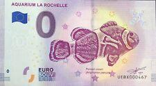 BILLET 0 EURO AQUARIUM DE LA ROCHELLE FRANCE 2019-4 NUMERO DIVERS