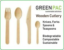 Biodegradable Compostable Disposable Wooden Cutlery Knife Fork Spoon Teaspoon