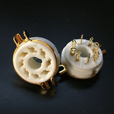 10Pcs 8Pin Gold Ceramic Vacuum Tube Socket Octal Valve Base fr EL34 KT88 6550