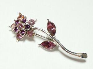 PRETTY Silvertone Lilac & Purple Crystal Stone Flower BROOCH