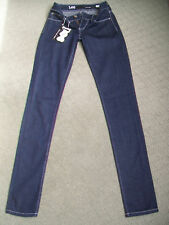 Lee Supa SKINNY Denim Jeans Dark Blue White Stitching Fits 27w Tag Sz 7