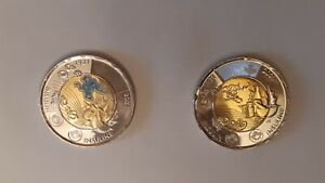 2021 Discovery of Insulin set of 2 CANADA Two Dollar Toonie Colour + No Colour