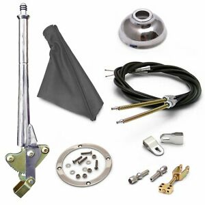 16 Trans Mnt E-Brake HandleGray Boot, Cap, Chr Ring, Cable Kit, GM Clevis